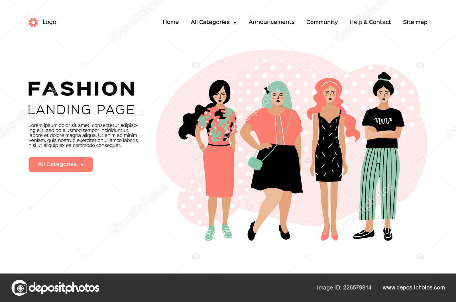 39110b81d5bb Página de Inicio moda, plantilla de web de tienda de ropa. Cuatro jóvenes  con