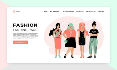 Online shopping girl, Fashion landing page, Clothing store web template. Four young stylish women. Vector flat design