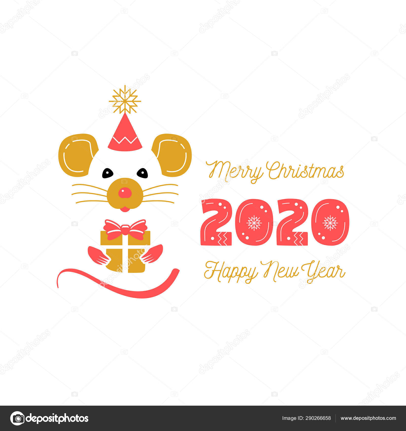 2020 Chinese New Year Date.Cute Rat And Date 2020 Year Christmas Card And Happy New