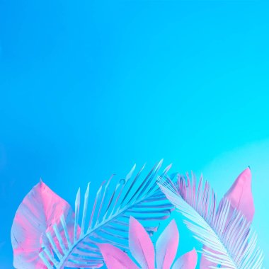 white painted tropical palm leaves in vibrant bold gradient holographic neon colors, Concept art