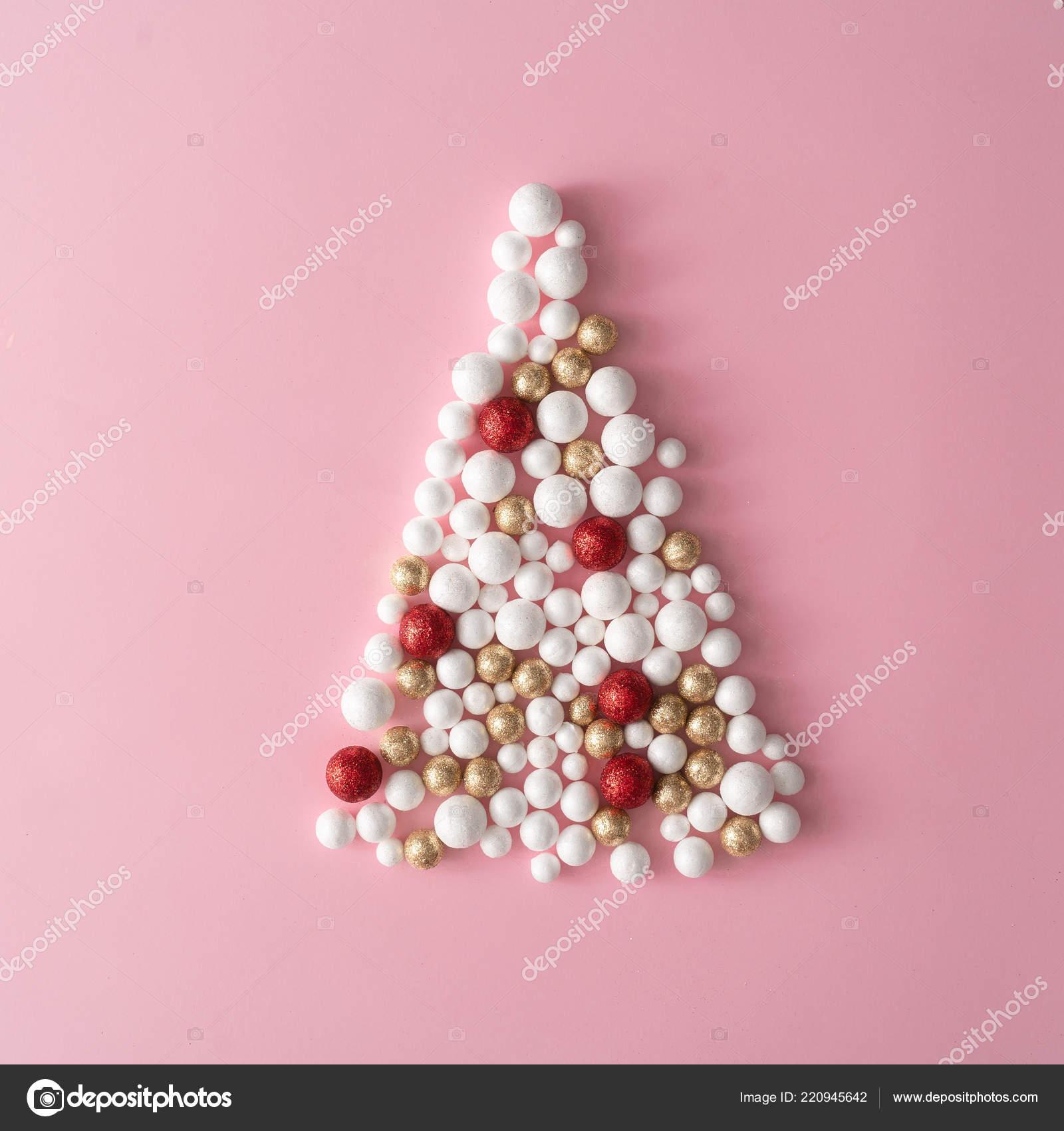 Christmas Tree Made Gold Red White Glitter Ball Decorations Pink Stock Photo C Zamurovic 220945642