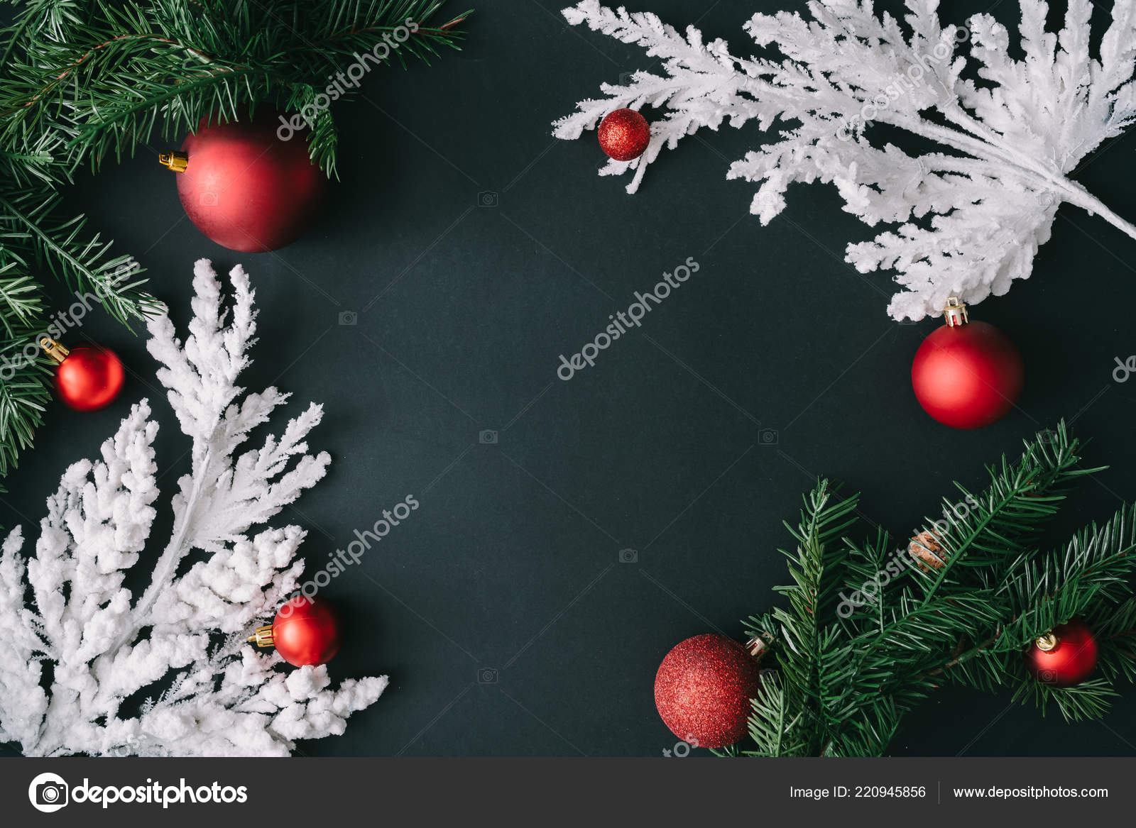 Black Christmas Table Background White Christmas Tree Branches