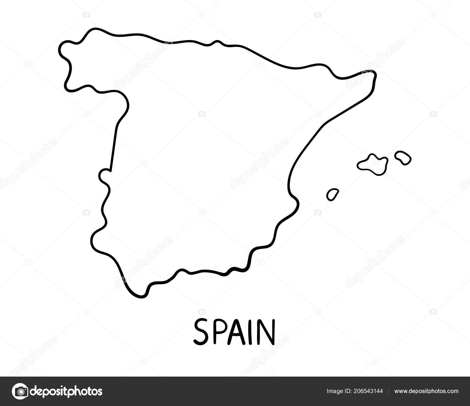 Map Of Spain Drawing.Spain Map Hand Drawn Illustration Stock Photo C Creuxnoir 206543144
