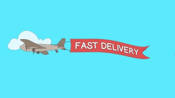 Letadlo je procházející mraky s Rychlé dodávky banner - bezešvé smyčka