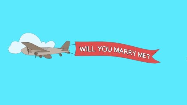 Letadlo je procházející mraky s transparentem Vezmeš si mě? - bezešvé smyčka