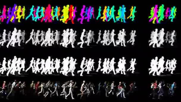 Dav lidí v jednom směru - 3d animace Video Element