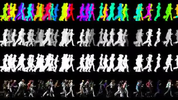 Crowd of People Running in One Direction - 3D Animation Video Element