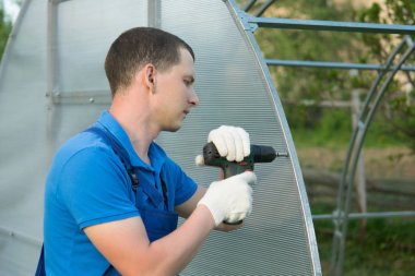 the hands of the worker twist the polycarbonate sheet with a screwdriver for installation on the greenhouse