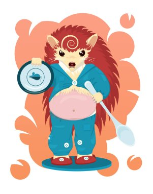Fat hungry angry reddish hedgehog, holding a plate with mouse and hedgehog symbols on it and a very big spoon. The background is a gradient. Cartoonish vector bright image. Unique illustration.
