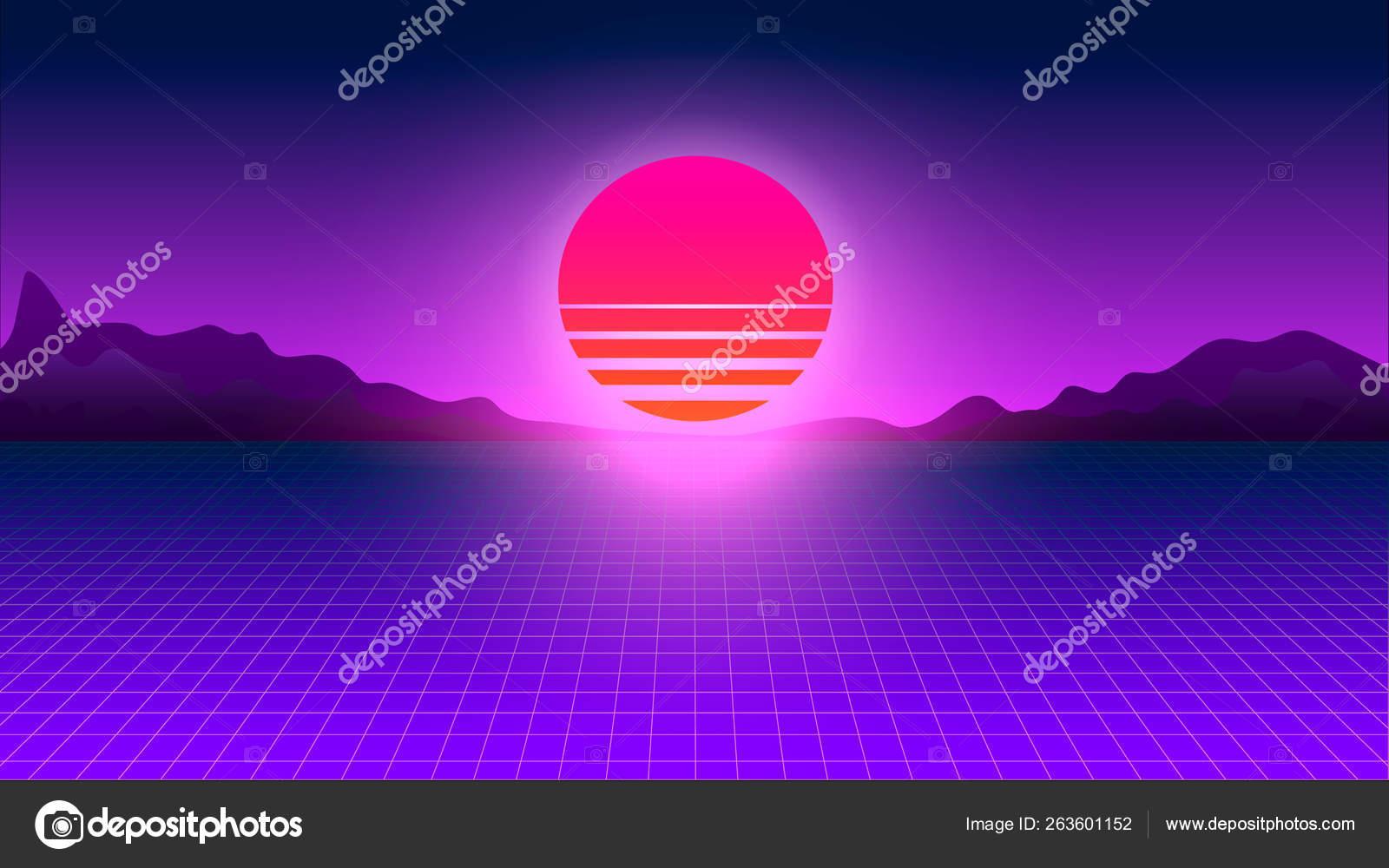 Retrowave Sunset Perspective Grid Futuristic Cyberpunk Neon