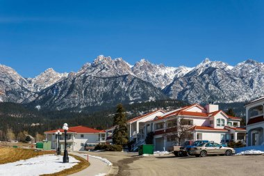 FAIRMONT HOT SPRINGS, CANADA - MARCH 18, 2019: spring in small town situated in rocky mountains british columbia.