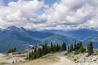 WHISTLER, CANADA - AUGUST 25, 2019: Peak 2 Peak gondola building on top of Whistler Blackcomb Mountain stock vector