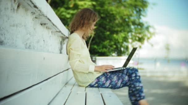 Működő-ra egy laptop, egy fa pad a parkban a gyönyörű nő