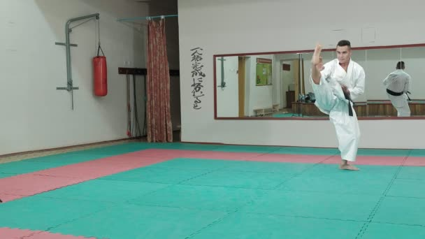 Young man with muscled body, training martial arts Goju-Ryu Karate-Do