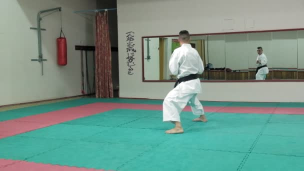 Young man with muscled body, training martial arts Goju-Ryu Karate-Do super slow motion