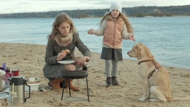 mother and daughter, a girl with curly hair, a young woman in a coat sits on the beach by the river, ocean, made a picnic, eats a burger in nature, a hungry dog walks nearby, cold weather