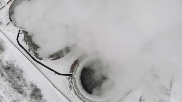 Tepelné elektrické stanice v zimě. Letecký pohled. Pohled shora, helikoptéra natáčení
