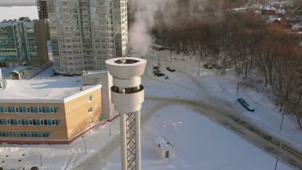 Edelstahlrohr für Rauchgase aus dem Heizraum, Luftaufnahmen