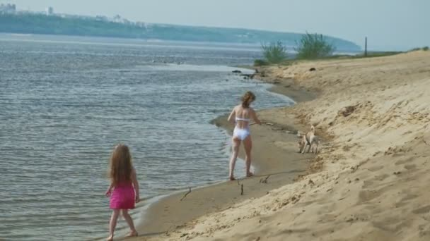 Mother and daughter run along the river bank with a dog. Sunny summer day. Family holiday