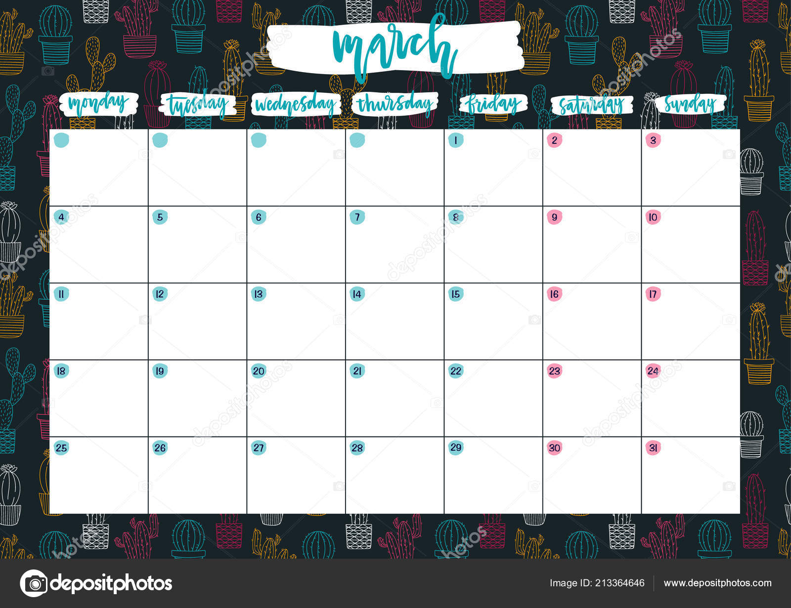Cute Print Ready Calendar March Notes Monthly Planer 2019 Year