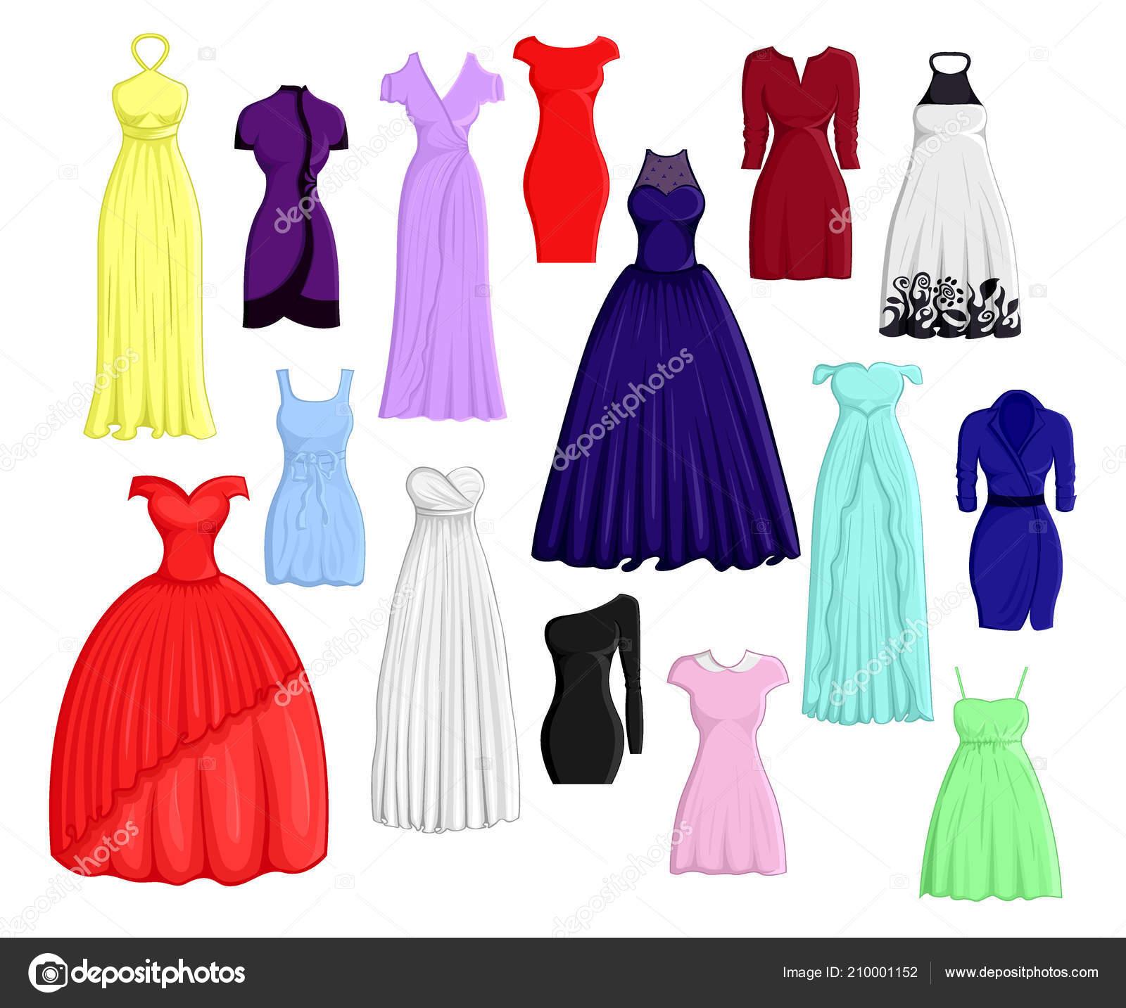 Conjunto Vestidos Diferentes Colores Estilos Archivo