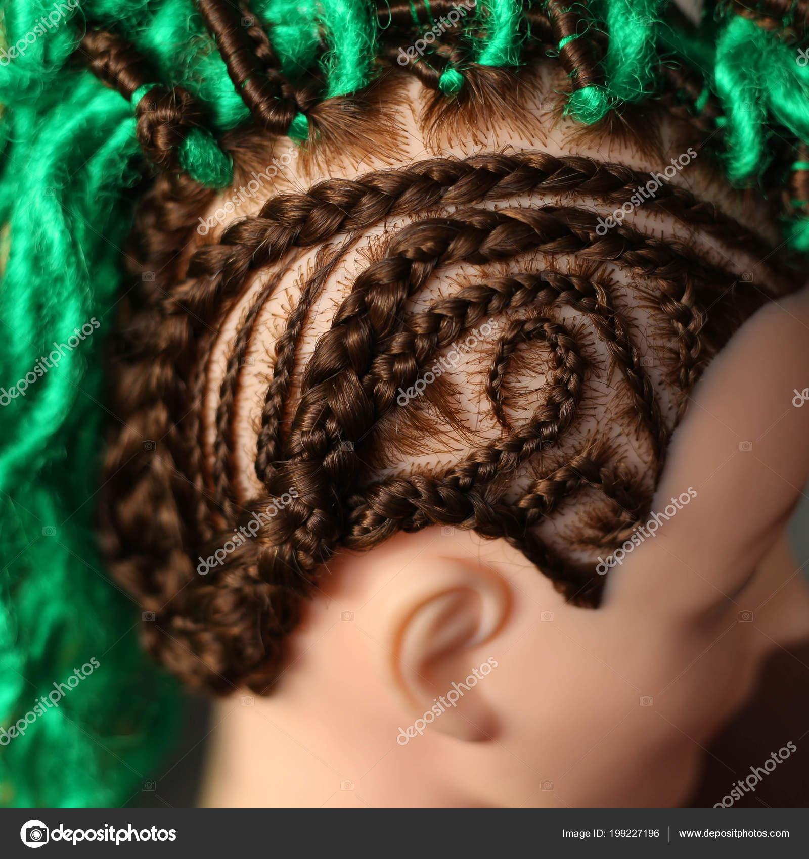 Thin Design Hairstyles Braids Dreadlocks Green Mannequin Stock