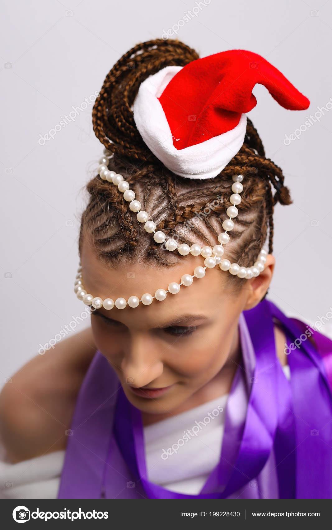 Brading New Year Harpoon Hairstyle New Year Attire Stock Photo