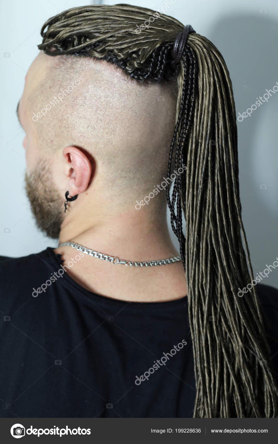 Dredy Głowie Człowieka Białym Tle Sztuczne Dredy Fryzury