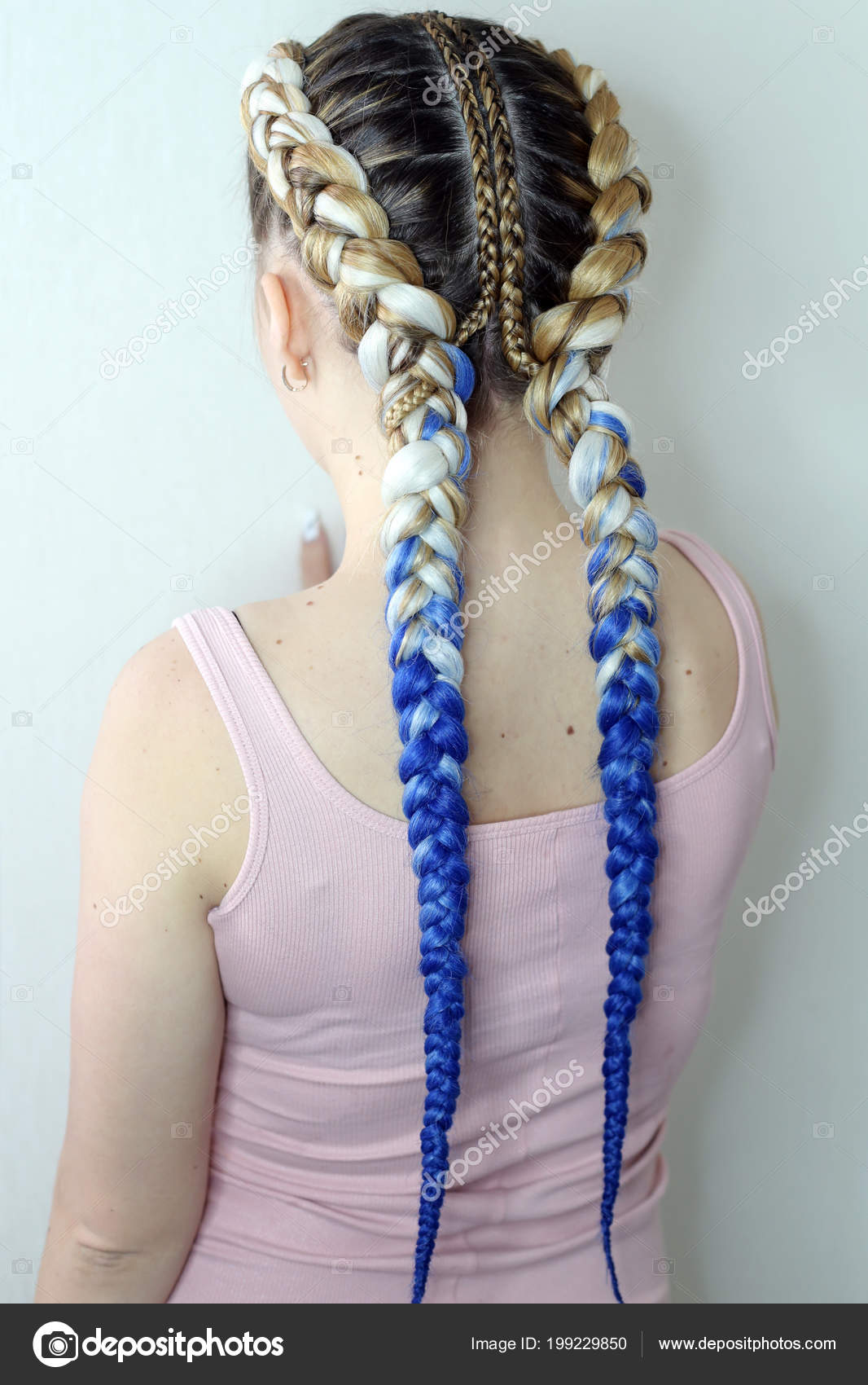 Girl Two Braids Blue White Ambergris Fashionable Youth Stock Photo C Gorgeoussab1 199229850 To prevent damage open up the braids after 6. https depositphotos com 199229850 stock photo girl two braids blue white html