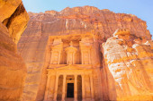 The Treasury of Petra, the Wonder of the World, in Wadi Musa, Jordan