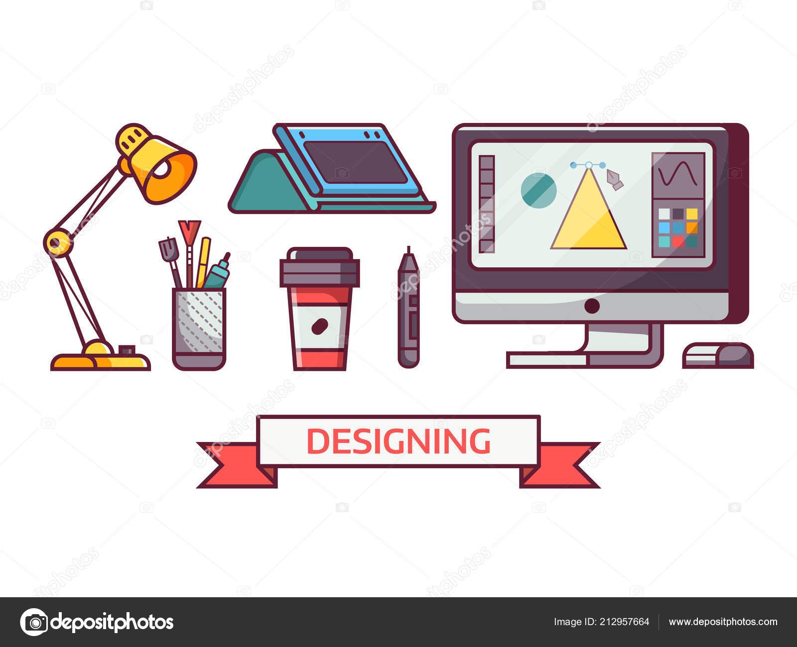 Digital Designer or Illustrator Icons — Stock Vector