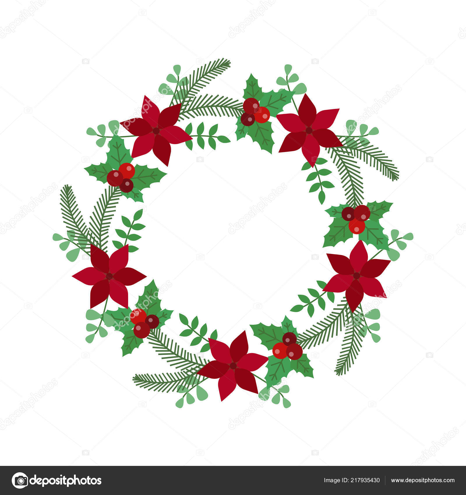 Christmas Holiday Wreath Icon Vector Image By C Krugli86 Gmail Com Vector Stock 217935430