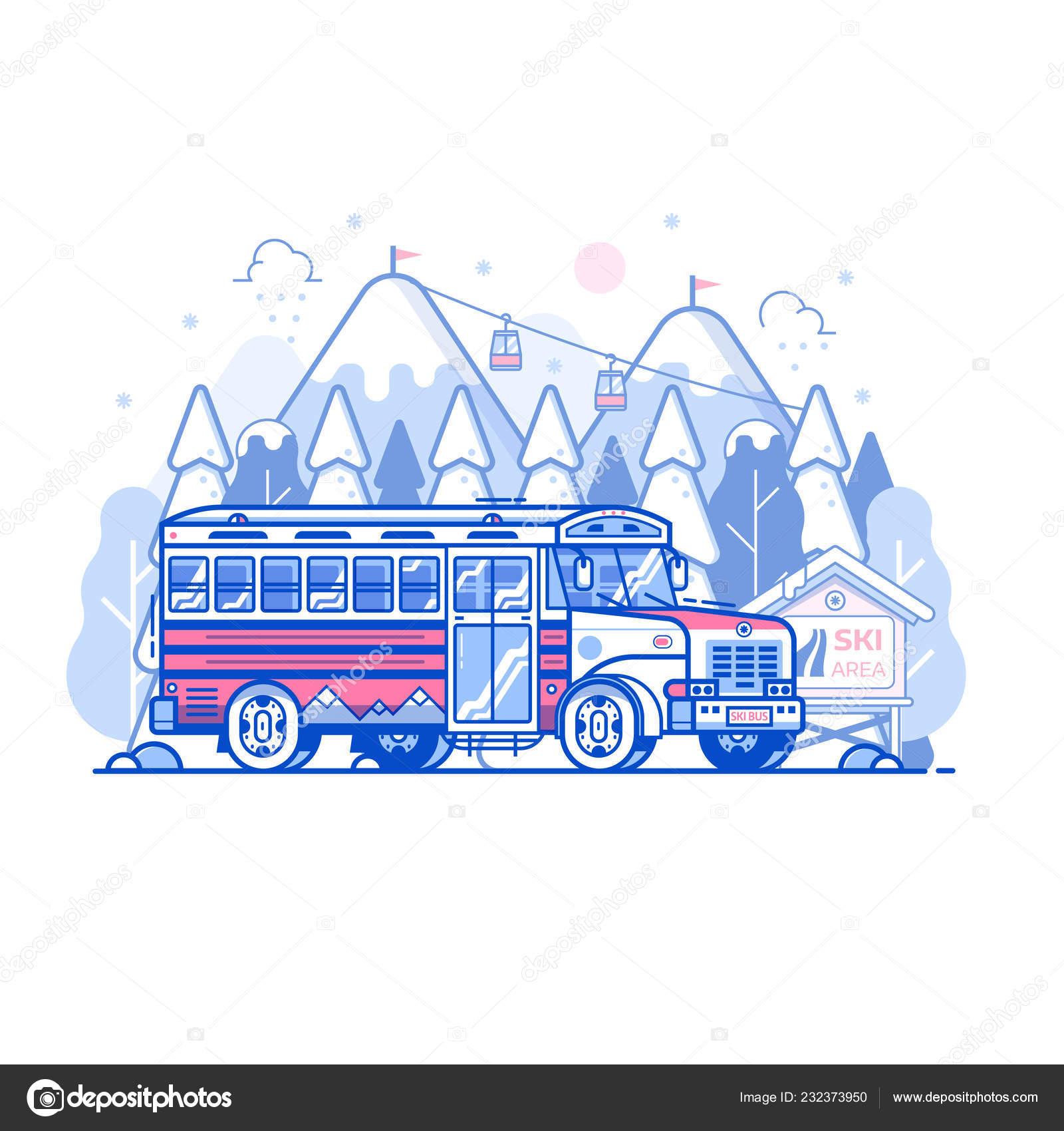 Bus-navette Mountain Ski Resort — Image vectorielle
