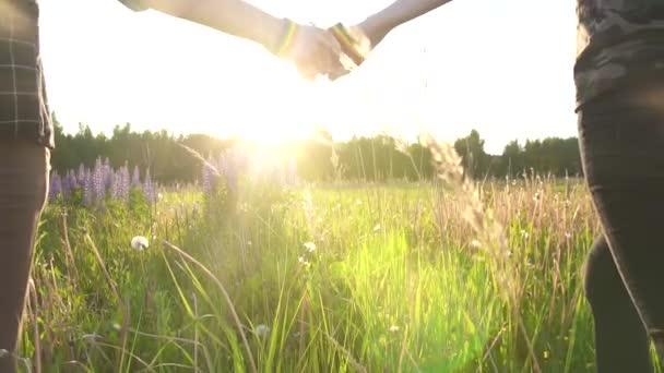 dvě dívky jdou držel ruku při západu slunce, slunce, symbol Lgbt lidé pomalé mo