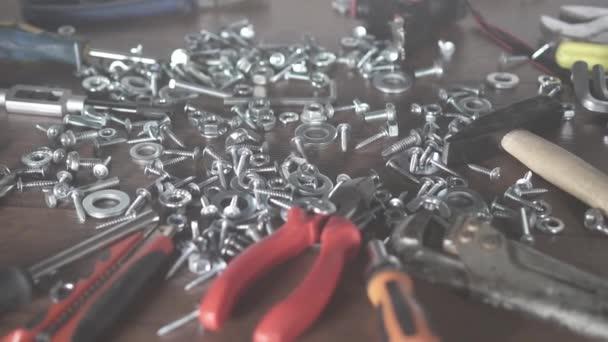 šrouby matice šroubů, ruční nástroje detail, Diy koncepce