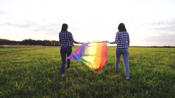 zwei junge lesbische Mädchen in Hemden gehen bei Sonnenuntergang mit einer lgbt-Fahne auf das Feld