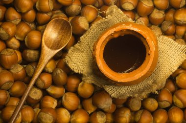 Honey pot with wooden spoon and nuts