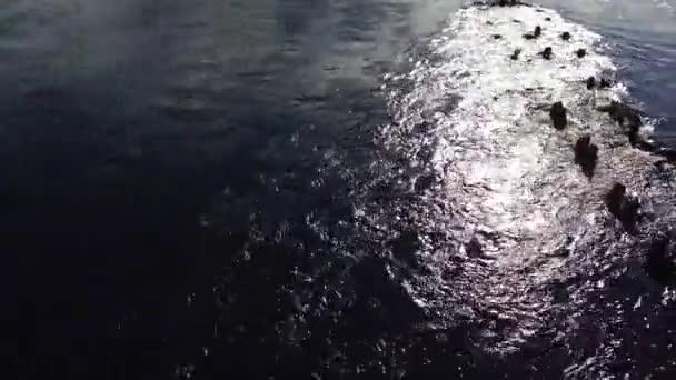 Řeka protéká hromadami zničeného dřevěného mostu. vodní proud. pohled se pohybuje zleva doprava