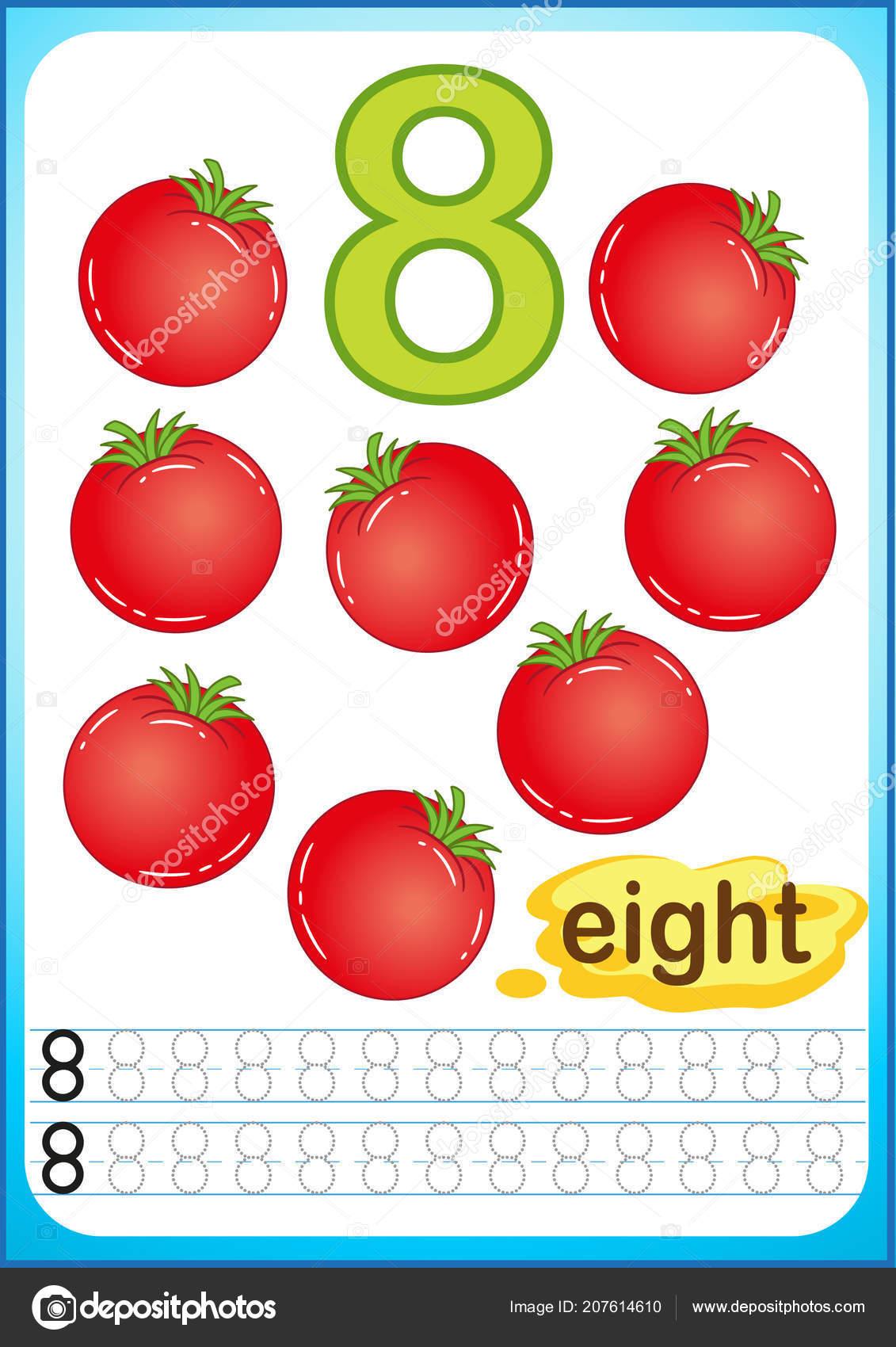 Printable Worksheet Kindergarten Preschool Exercises Writing Numbers Bright Vegetable Harvest Vector Image By C Natasha Tpr Vector Stock 207614610 - 23+ Writing Numbers Worksheets For Kindergarten Background