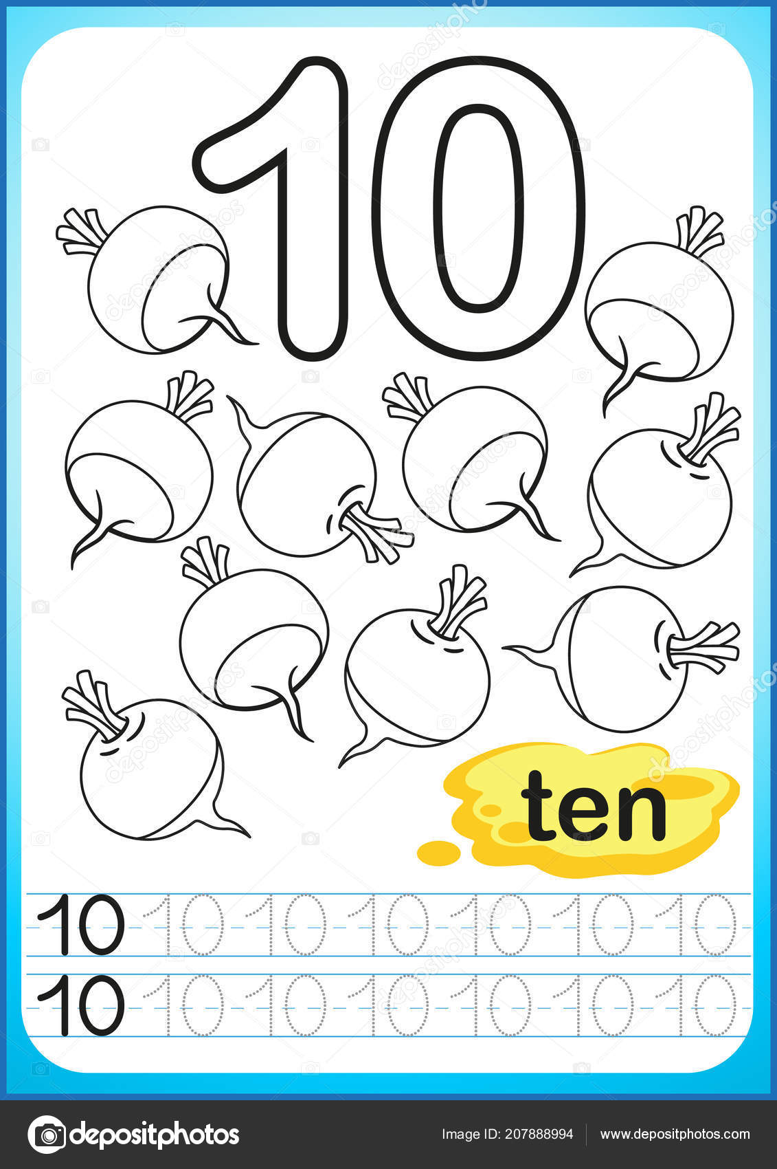 printable worksheet kindergarten preschool exercises writing numbers  printable worksheet for kindergarten and preschool exercises for writing  numbers simple level of difficulty restore dashed line and color the  picture