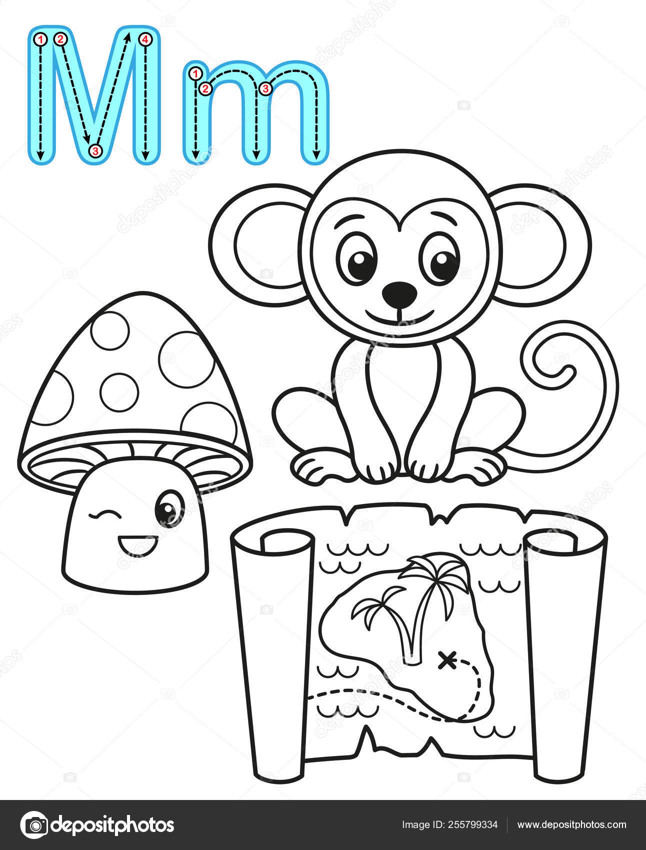 Printable Coloring Page For Kindergarten And Preschool Card For Study English Vector Coloring Book Alphabet Letter M Mushroom Map Monkey Vector Image By C Natasha Tpr Vector Stock 255799334