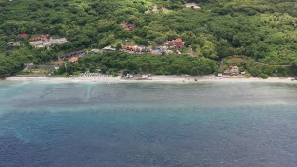Aerial view from drone a beautiful coastal road. Nusa Penida island.