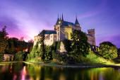 Castle Bojnice, střední Evropa, Slovensko. Unesco. Světlo západu slunce.