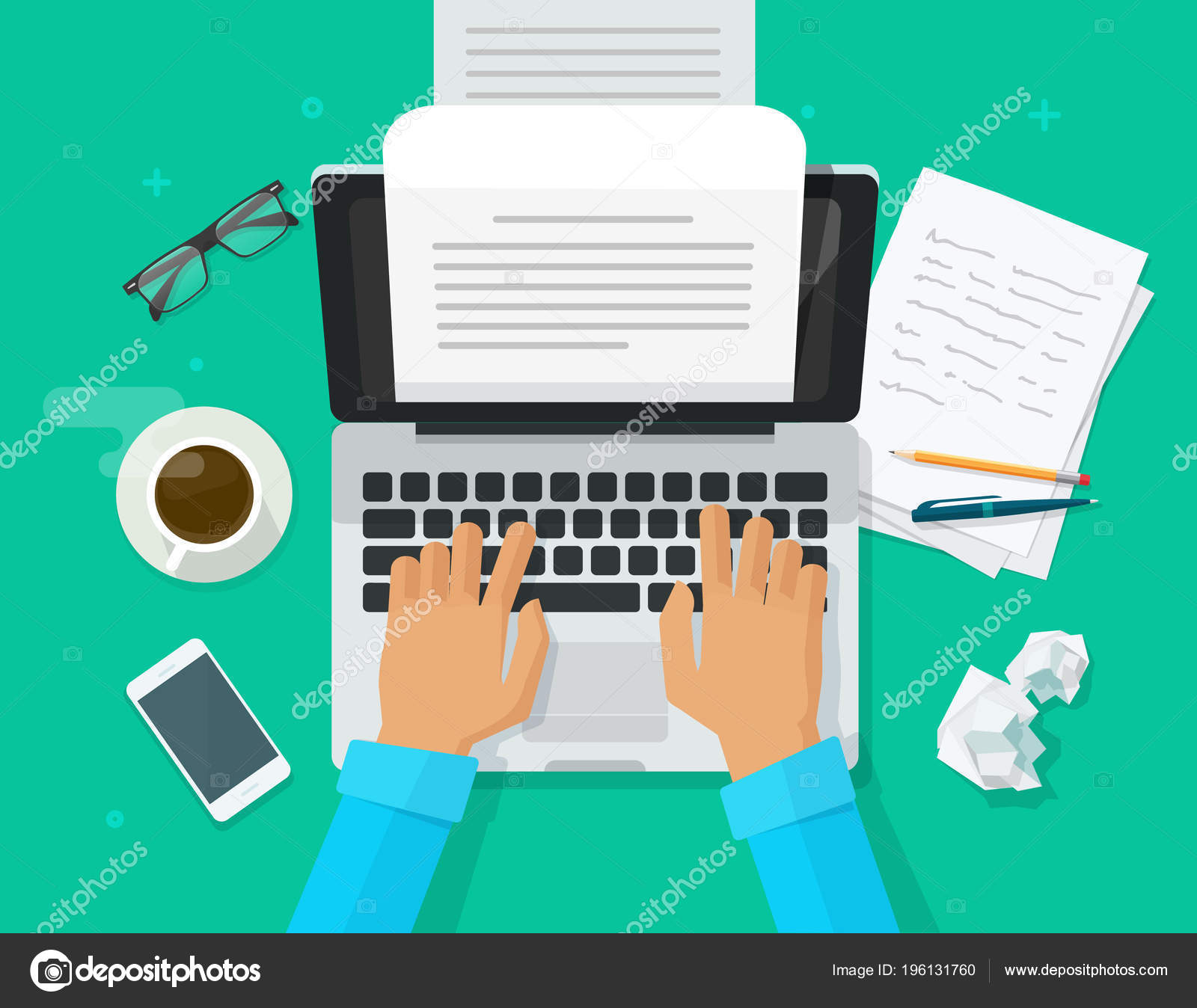 writer writing on computer paper sheet vector illustration flat cartoon person editor write electronic book text top view laptop with writing letter or