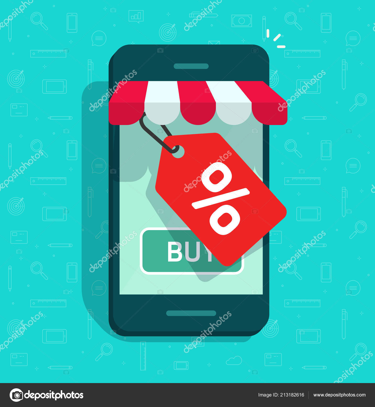 3aab78a55ca Mobile phone store and sale tag vector illustration