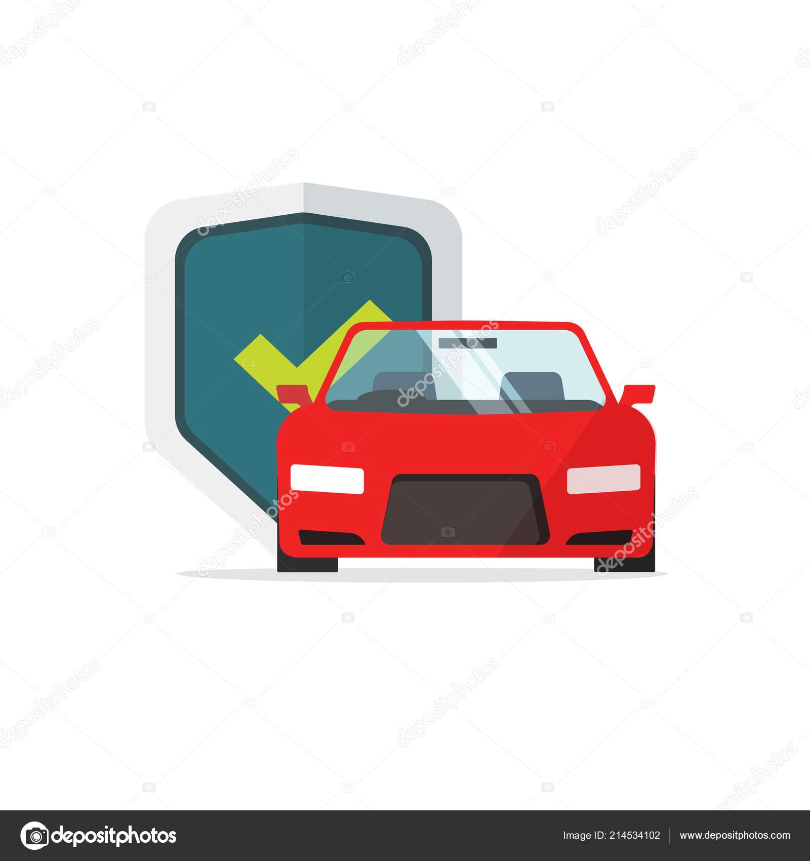 Auto Schutz Vektor Illustration Flache Cartoon Auto Mit Schild