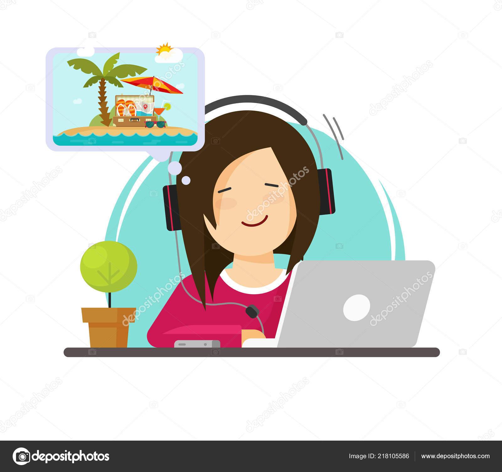 Mädchen Am Computer Arbeiten Und Träumen Von Resort Reisen Flache