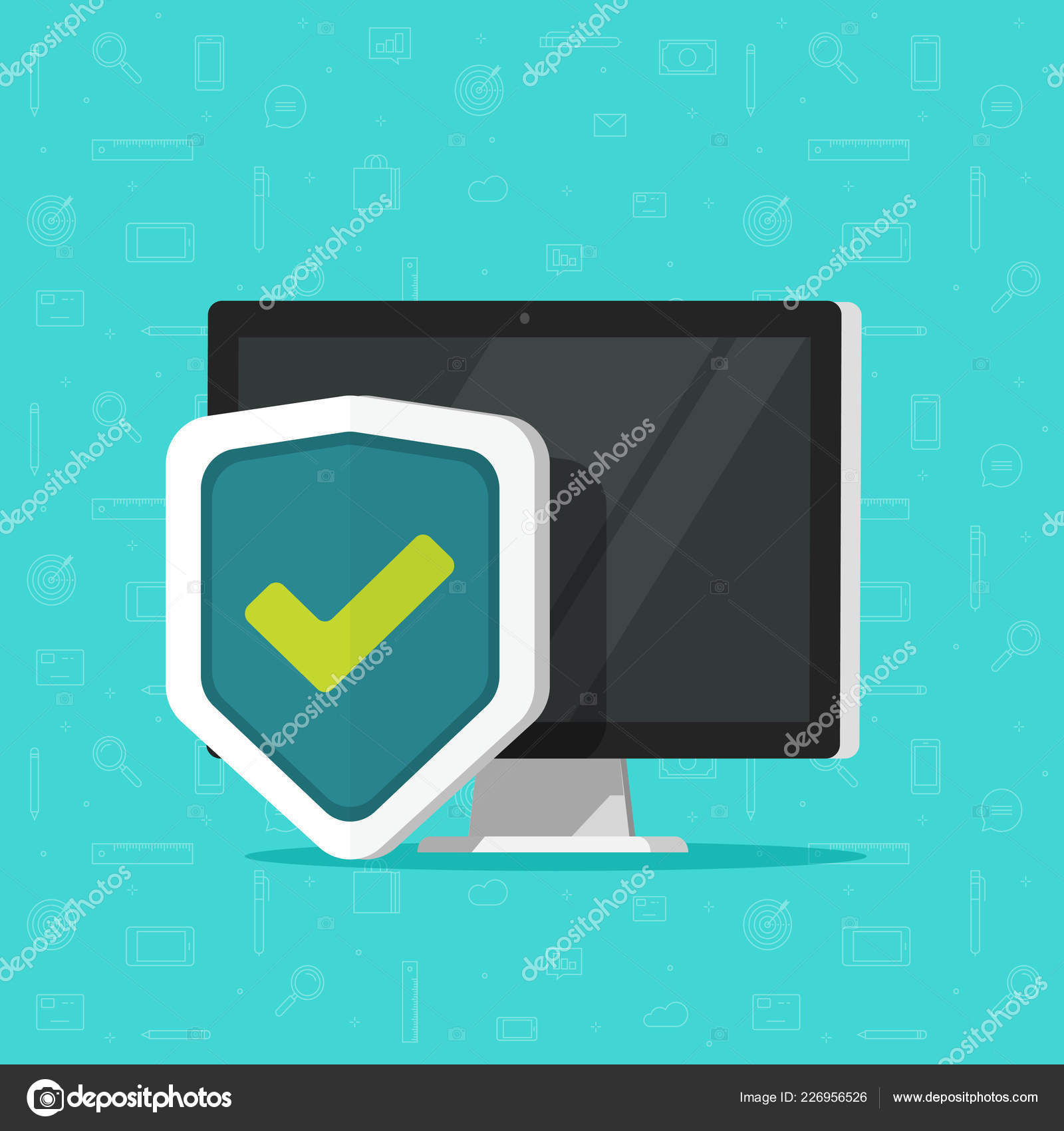 Computer protection vector icon isolated, flat desktop pc