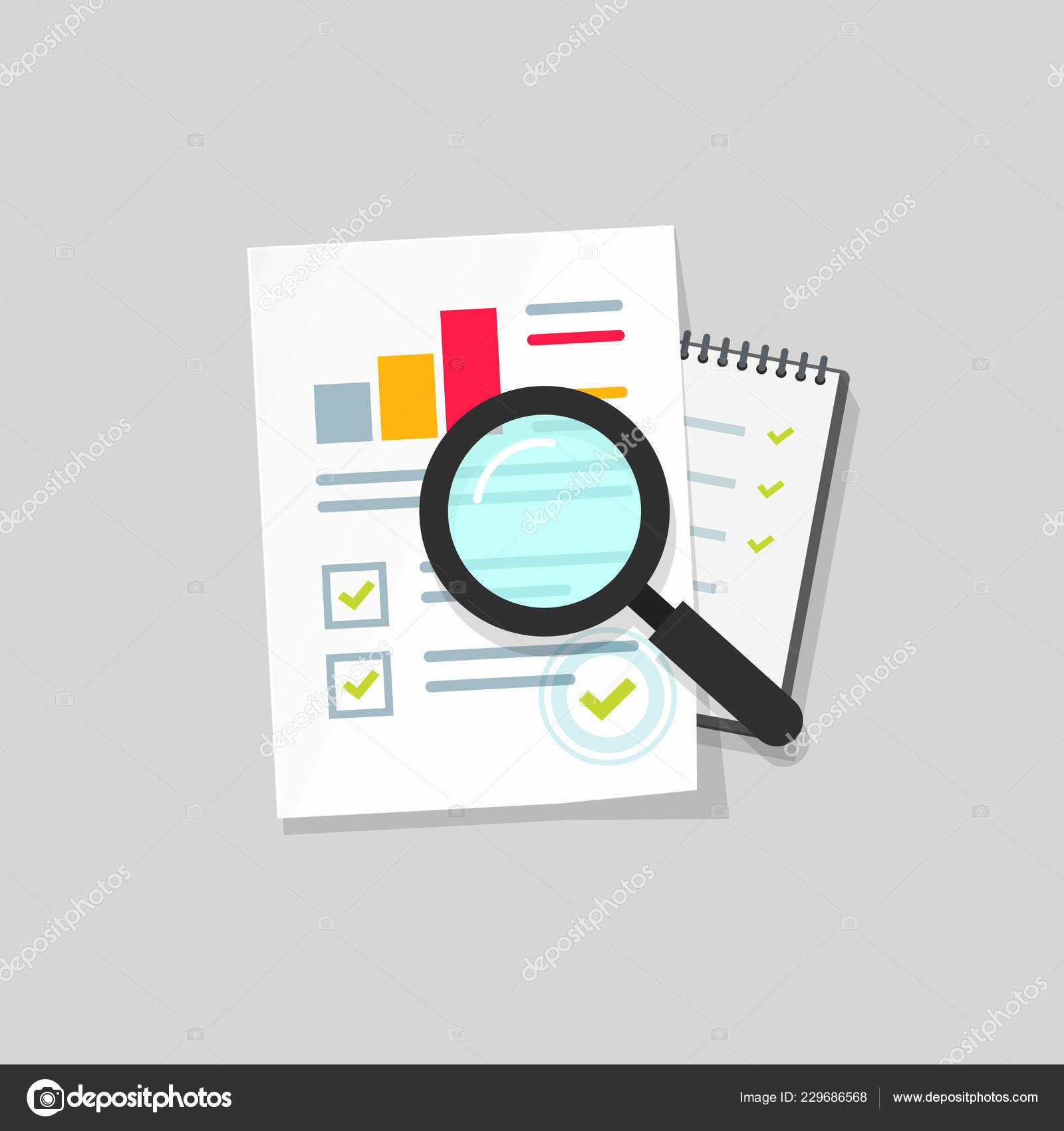 Clipart Data Analysis Audit Research Vector Icon Flat Cartoon