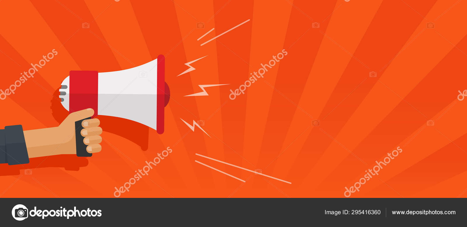loudspeaker or megaphone in hand shouting vector illustration flat cartoon hand holding bullhorn with loud sound announcement and text or copy space template stock vector c vladwel 295416360 https depositphotos com 295416360 stock illustration loudspeaker or megaphone in hand html